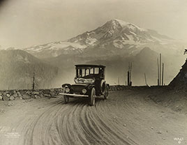 Detroit Electric auto on promotional tour through mountains from Seattle to Mt. Rainier...1919