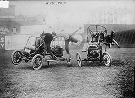 Auto polo match, Hilltop Park, New York. Photo by Bain News Service, 1910s
