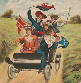 Five women driving in an early automobile.   Chromolithograph print, about 1900.