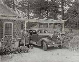 Frances B. Johnston at the Wheel Inn, Morganton, N.C.  Photo by Johnston, 1938