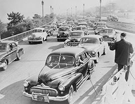 Road construction delays traffic on West Side Highway, at 79th Street, New York City, during rush hour. Photo by Al Ravenna, 1951