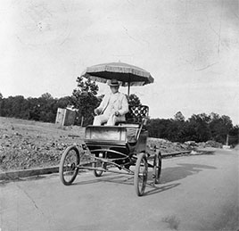 Harvey Washington Wiley, in his first car, a steam car, third one in Washington, D.C...1890s?