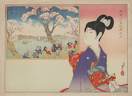 [A young girl holding a doll remembers the revelry during a festival beneath blossoming cherry trees on the banks of a river]. Color woodcut print, 1850-1900