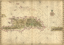 Map of the islands of Hispaniola and Puerto Rico