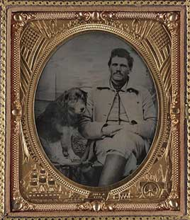 Unidentified soldier in Union uniform with dog