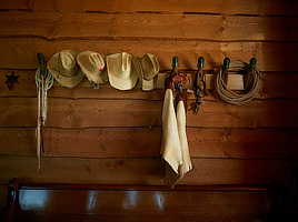 Wall hat rack at Boettcher Fort Lodge, Park Range Ranch, North Park, Colorado. Digital photo by Carol M. Highsmith, 2016. Prints & Photographs Division