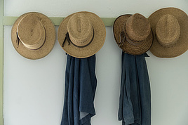 Men's straw hats, at Yoder's Amish Home, Walnut Creek, Ohio. Digital photo by Carol M. Highsmith, 2016. Prints & Photographs Division