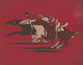 The Runners. Color woodcut, 1900