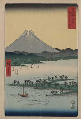 View of Mount Fuji with a pine grove on a promontory in the Suruga Bay