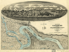 View of Vicksburg and plan of the canal, fortifications & vicinity