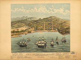 View of San Francisco, formerly Yerba Buena, in 1846-7 before the discovery of gold.