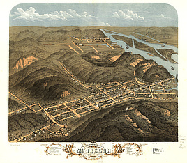 Bird's eye view of the city of McGregor and North McGregor, Clayton County, Iowa 1869.
