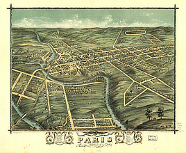 Bird's eye view of the city of Paris, Bourbon County, Kentucky 1870.