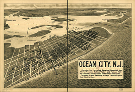 Ocean City, N.J. : showing its unrivalled location, beautiful sea-shore, protected sailing waters, and famous fishing grounds, also railroads and ferry connections, artesian water, sanitary sewage [sic], electric lights, gas, electric cars.