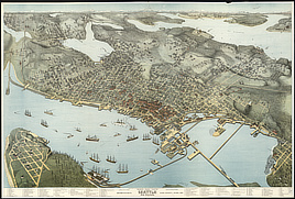 Birds-eye-view of Seattle and environs King County, Wash., 1891.