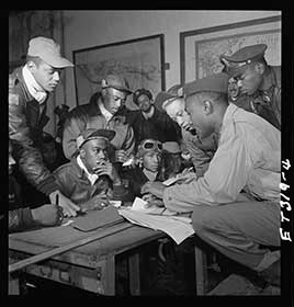 Photograph of several Tuskegee airmen at Ramitelli, Italy, March 1945