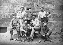 Lawn tennis players probably in the Boston area. Photograph by Charles Henry Currier, 1890-1910