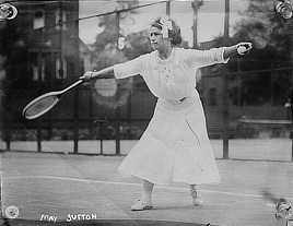 May Sutton, the first American to win a Wimbledon singles title in 1905. Glass negative by Bain News Service, 1910-1915