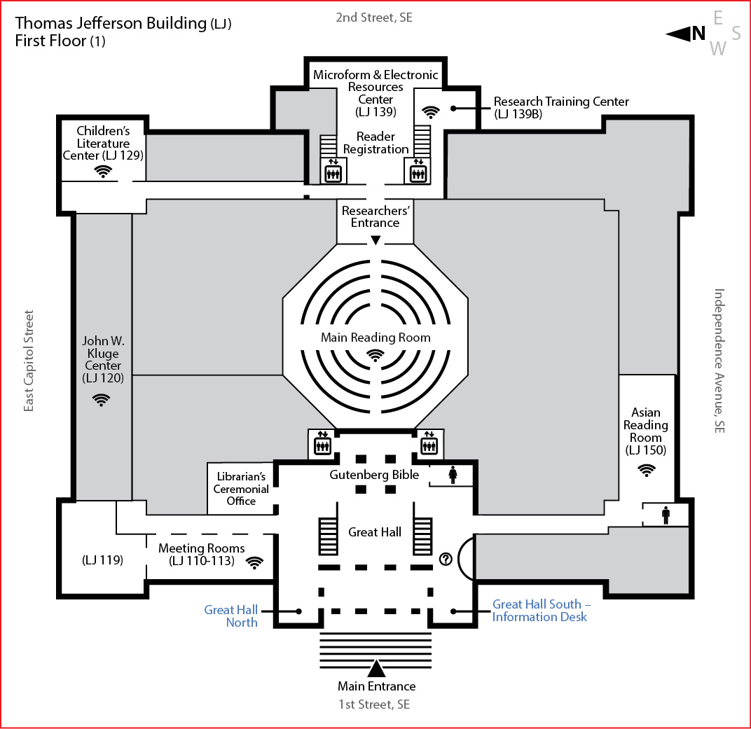 First Floor Thomas Jefferson Building Maps Floor Plans - Us-congress-building-map