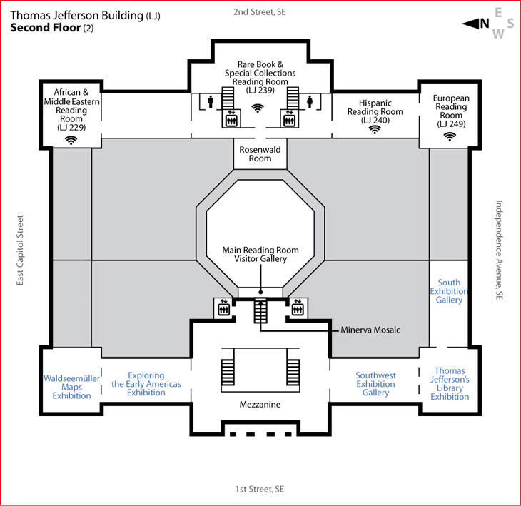 Jefferson building second floor library of congress for Building floor plans