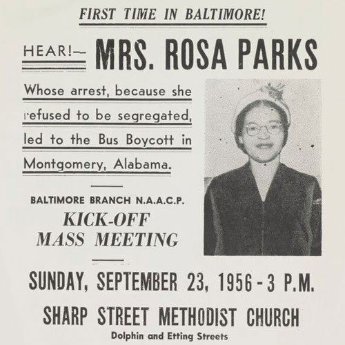 NAACP flyer advertising a lecture by Rosa Parks, September 23, 1956