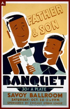 Albert M. Bender, artist, poster for a father and son banquet, Federal Art Project, WPA, 1939