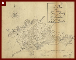 Sam Roworth, creator. A Plan of the Land Between Fort Mossy and St. Augustine in the Province of East Florida, ca. 1760. (This is a map of East Florida as James Grant would have known it). Geography and Map Division.