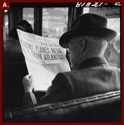 Reading War News Aboard Streetcar. San Francisco, California,? 1941