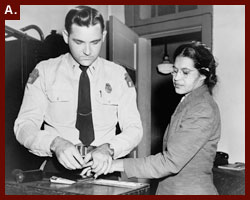 ?Woman fingerprinted. Mrs. Rosa Parks, Negro seamstress, whose refusal to move to the back of a bus touched off the bus boycott in Montgomery, Ala.,? 1955