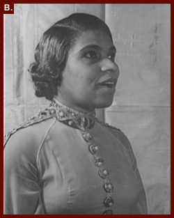 Carl Van Vechten, photographer. [Portrait of Marian Anderson singing], 1940. Prints and Photographs Division. Anderson's 1936 recording of He's Got the Whole World in His Hands was named to the 2003 National Recording Registry.