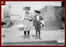 Girl and boy holding parcels and wearing tags, before leaving for summer camp