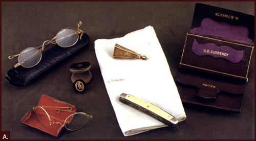 The contents of Lincoln's pockets the night of his assassination.