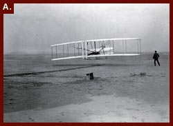 Photograph of the Wright Brothers first flight, 1903